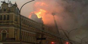 Incendio en el Museo de la Lengua Portuguesa en Sao Paulo