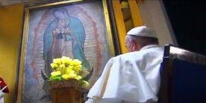 El papa Francisco se encuentra con la Virgen de Guadalupe