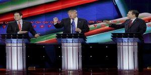 """Rubio y Cruz atacan a Trump en debate previo al """"Super Martes"""""""