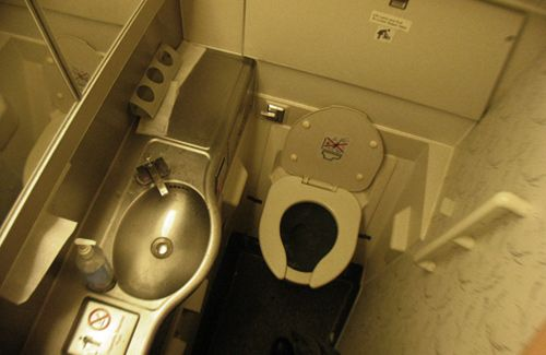 Hielo Azul Baño Aviones:Airplane Bathroom Flush Toilet