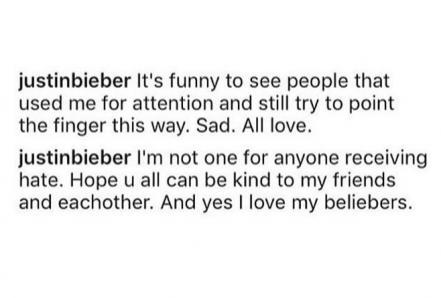 Los comentarios de Justin Bieber. Foto de Instagram.