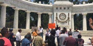 Marchan en protesta contra la visita de Trump