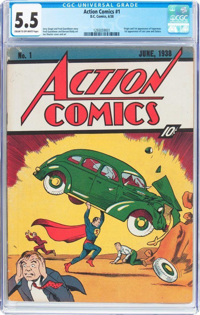 Esta imagen cortesía de Heritage Auctions muestra una copia difícil de conseguir del comic Superman de 1938. Foto de AP.