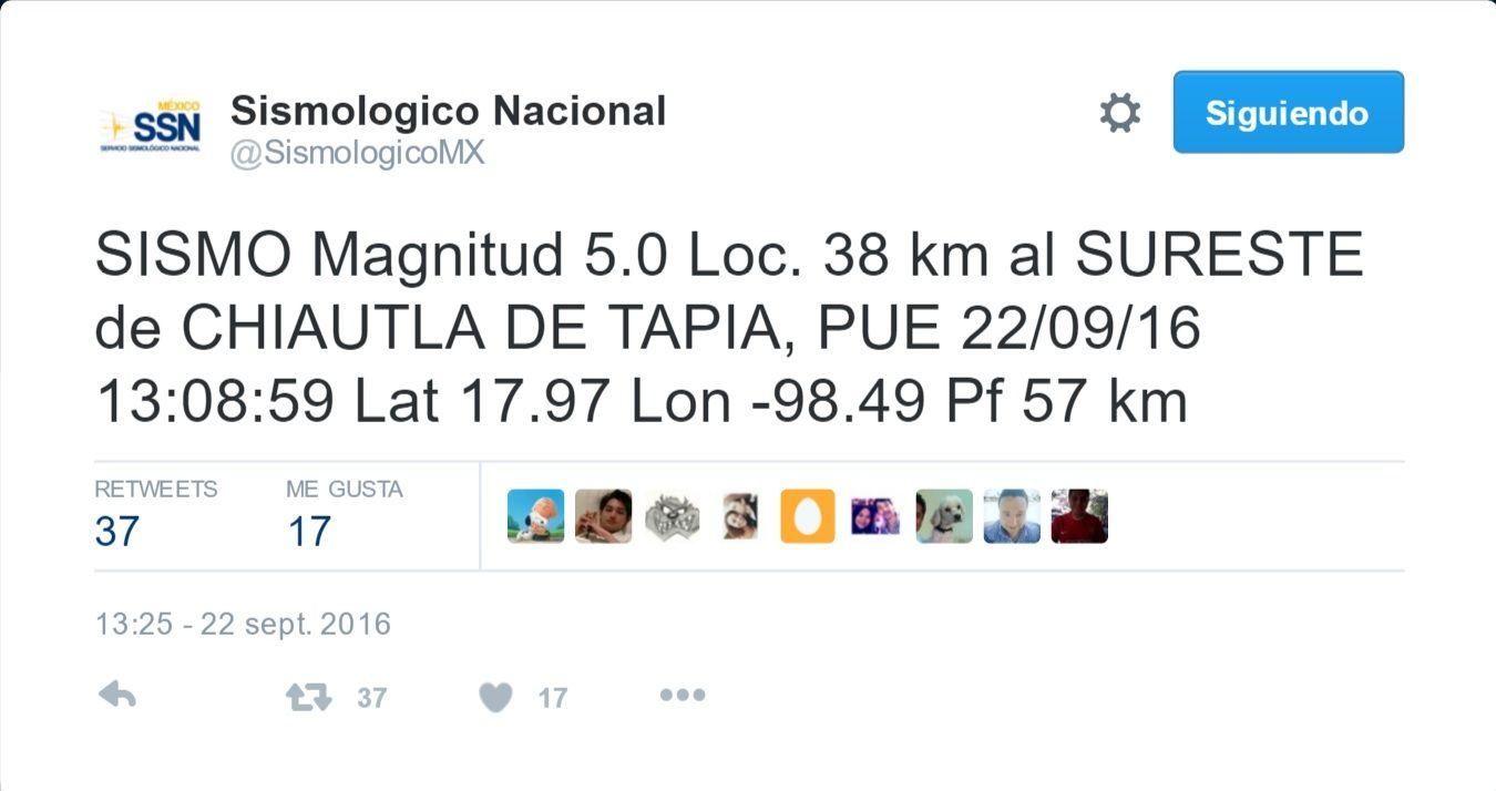 Ocurre sismo de 5.4 grados en Chiautla, Puebla