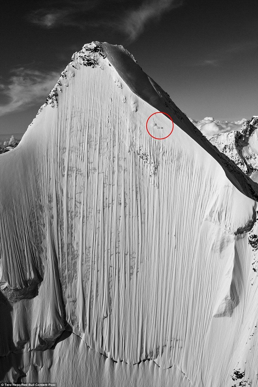 La figura de Heitz cuando comenzaba su descenso. Foto de