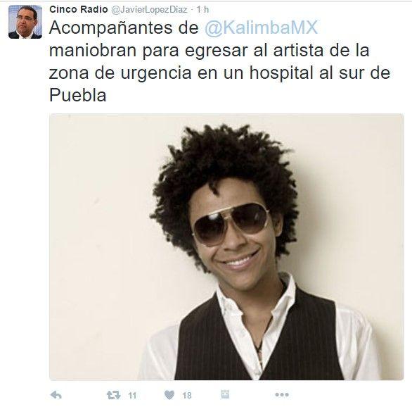 Kalimba fue hospitalizado en Puebla