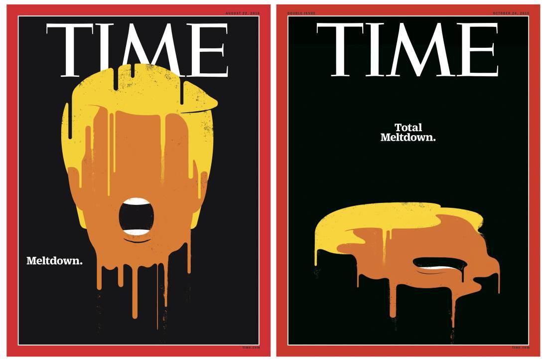 La antigua portada y la versión actualizada de Edel Rodríguez. Foto de Times
