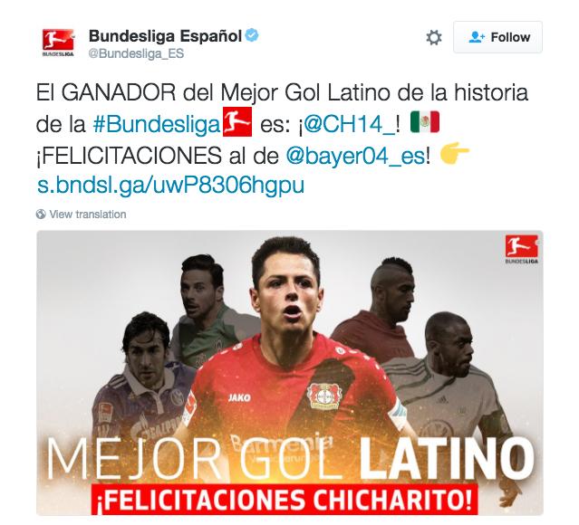 El tuit de la Bundesliga. Captura de pantalla