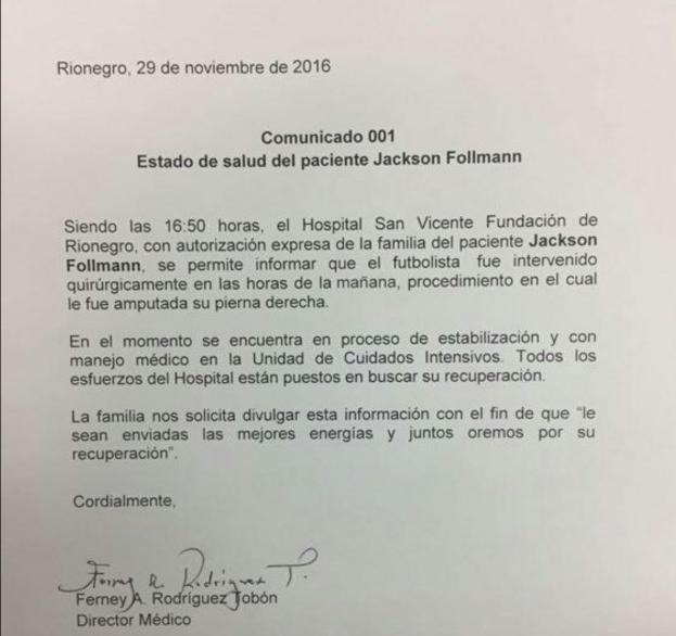 La información brindada por el hospital donde se encuentra Follman. Foto de Twitter @noticiasecos