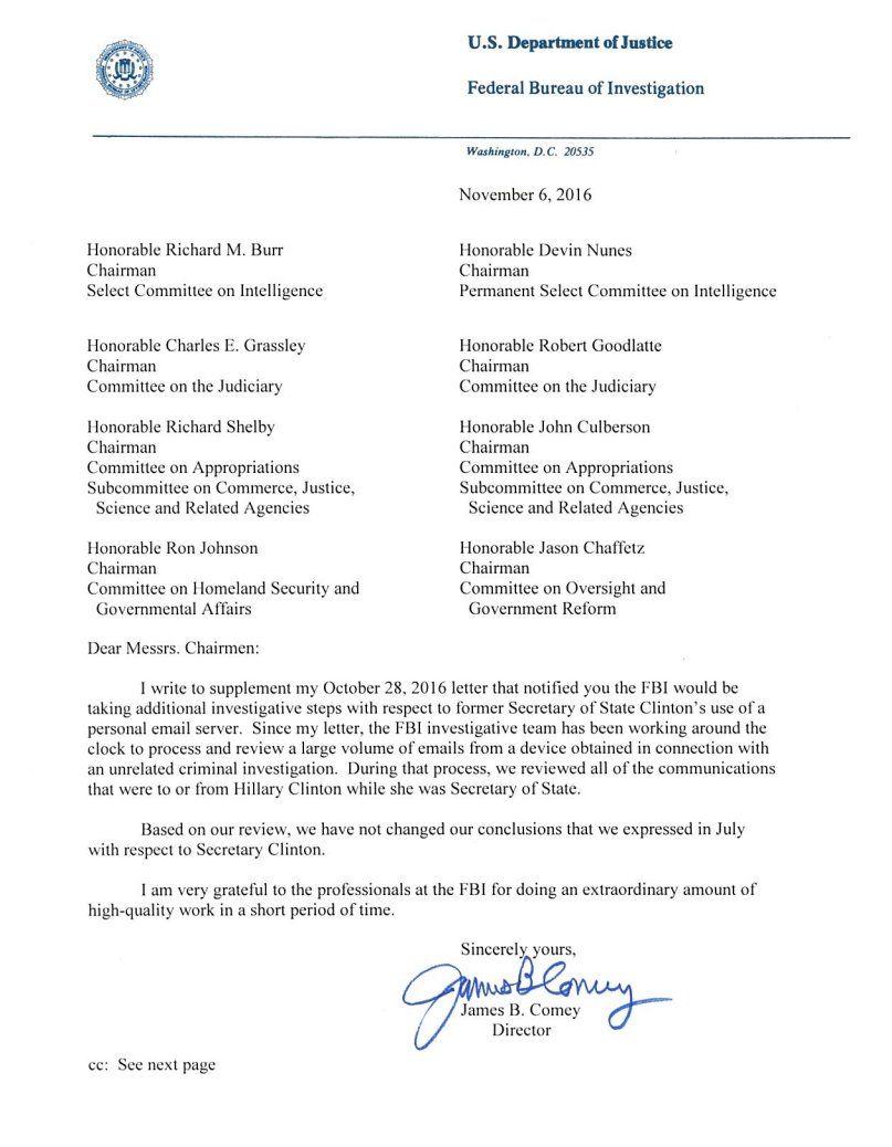 Termina revisión de correos de Clinton, FBI no imputará cargos