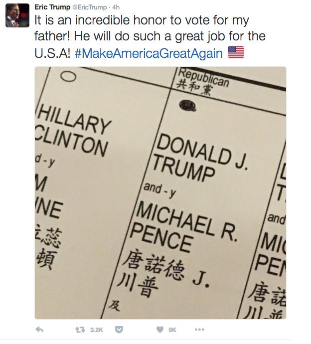 Presentan queja contra hijo de Trump por presunta infracción electoral