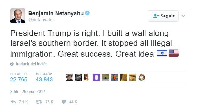 México pide respeto a primer ministro de Israel por apoyo a muro