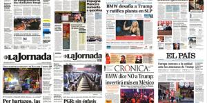 BMW, Trump y Obama en primeras planas del martes