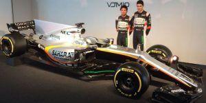Checo Pérez presenta el coche VJM10 de Force India