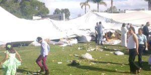Caída de carpa lesiona a 41 en Aguascalientes
