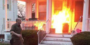 Repartidor salva a familia de incendio en EE.UU.