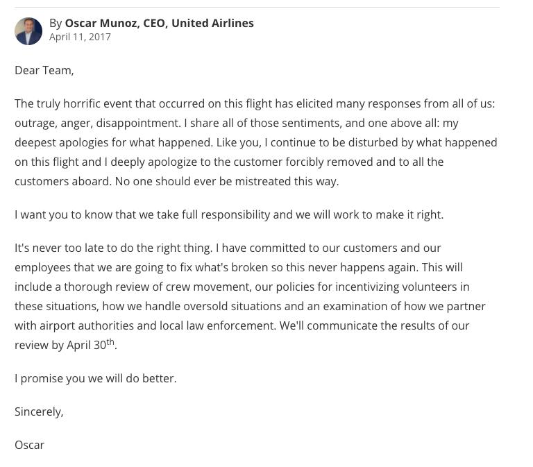 United se vuelve a disculpar por el incidente con un pasajero