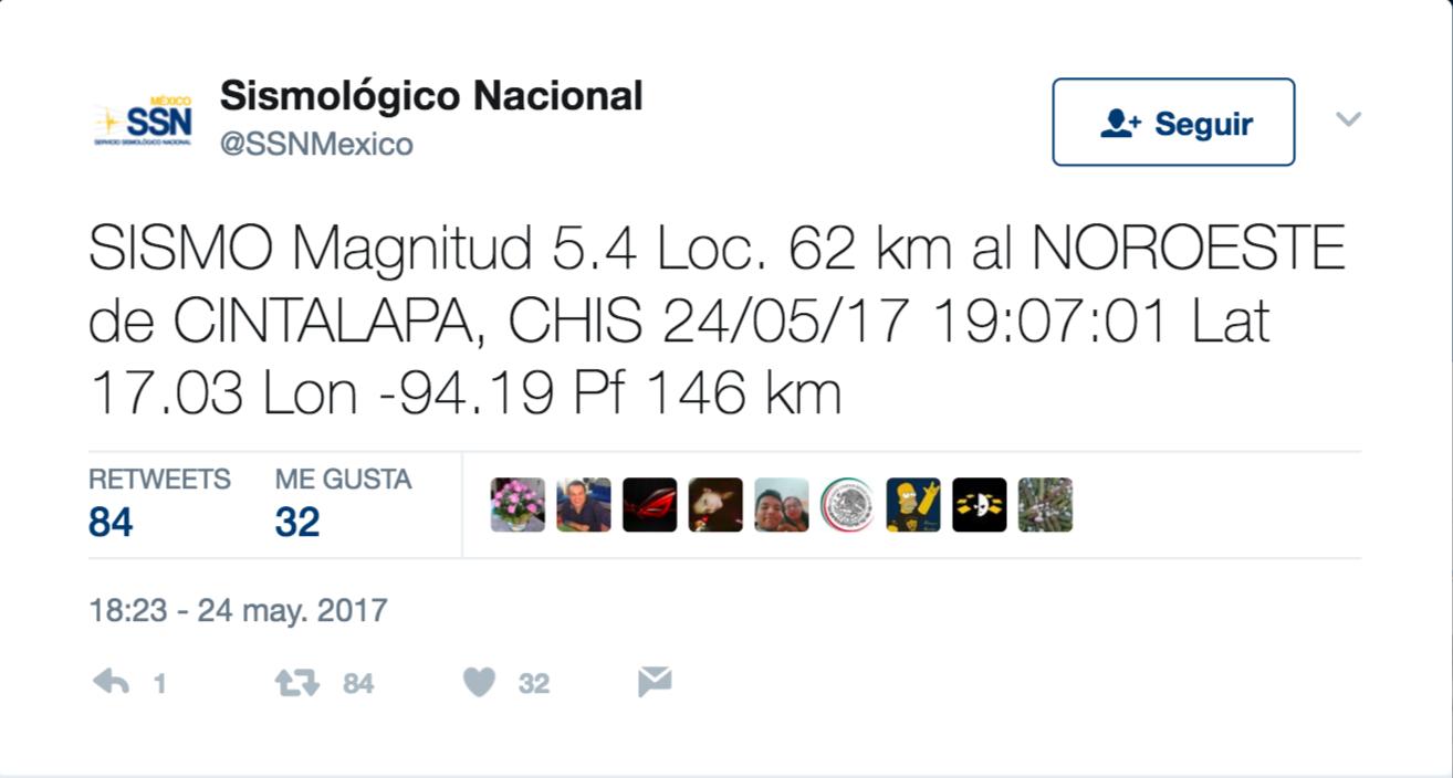 Sismo de 5.4 grados sacude el sureste; otra vez en Cintalapa