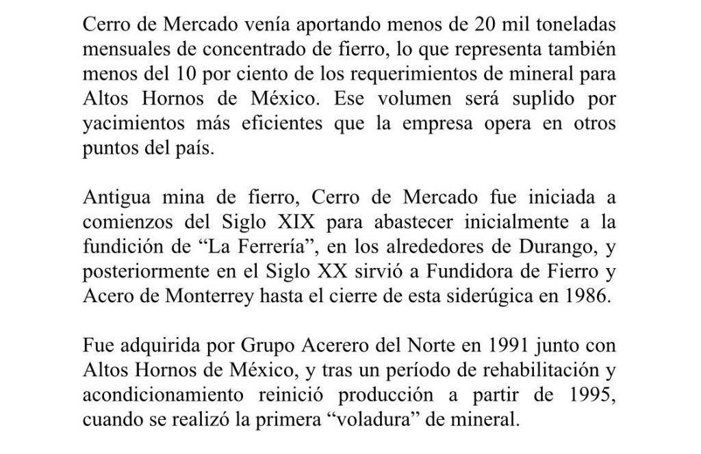 Anuncian cierre de mina de Cerro de Mercado en Durango