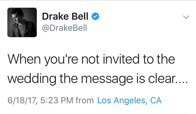 Josh Peck se casó y no invito a Drake Bell