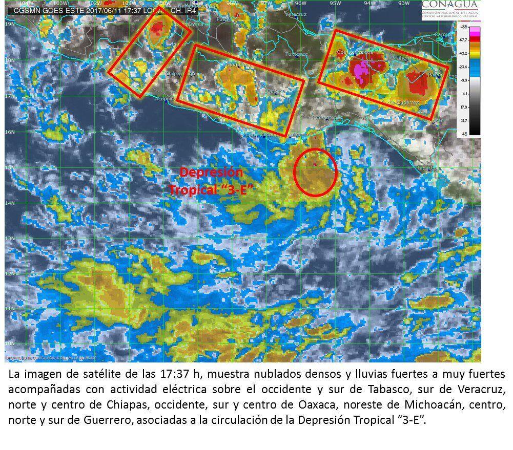 Alertan de tormentas en ocho estados por Depresión Tropical 3-E