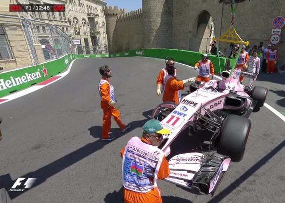 Checo' Pérez choca y se retira del GP de Azerbaiyán