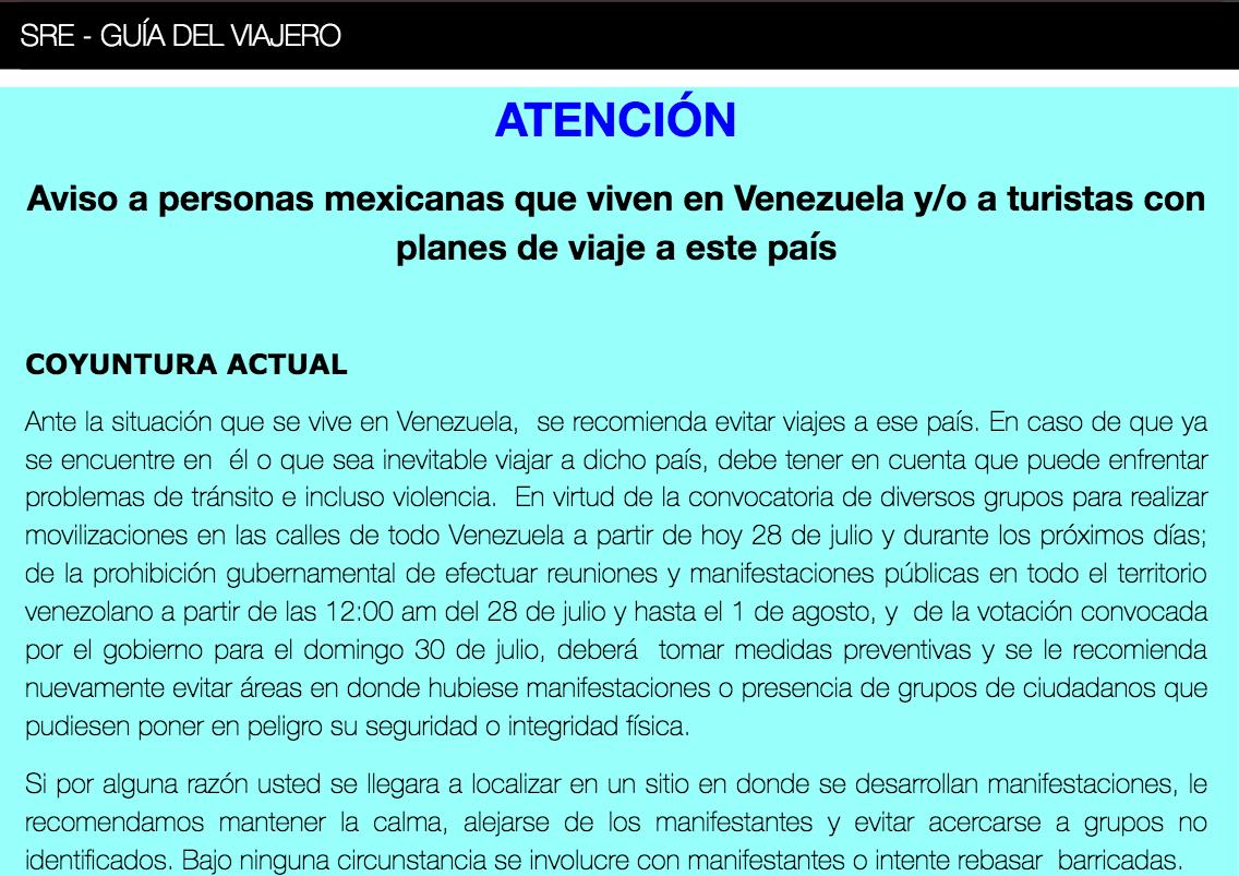 Alerta de viaje a Venezuela