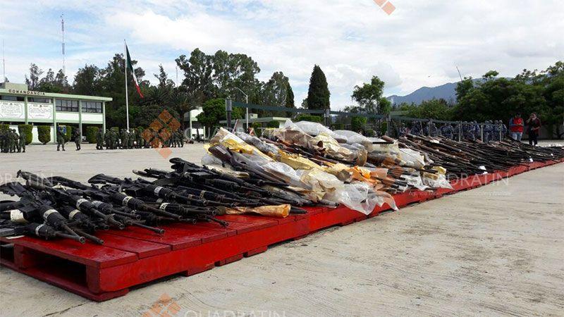 Destruye Sedena mil 739 armas en Veracruz y Chiapas