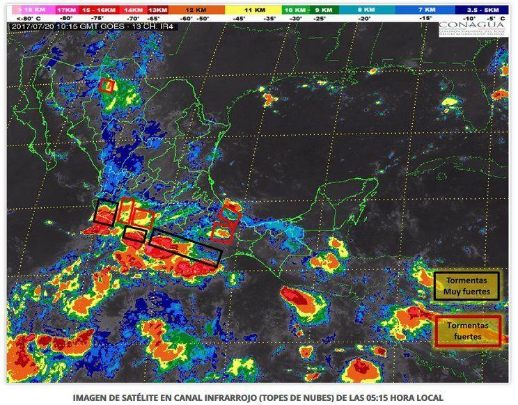 En Guerrero, Oaxaca y Chiapas prevén tormentas intensas
