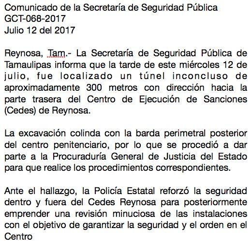 Hallan pasadizo de 300 metros hacia penal de Reynosa