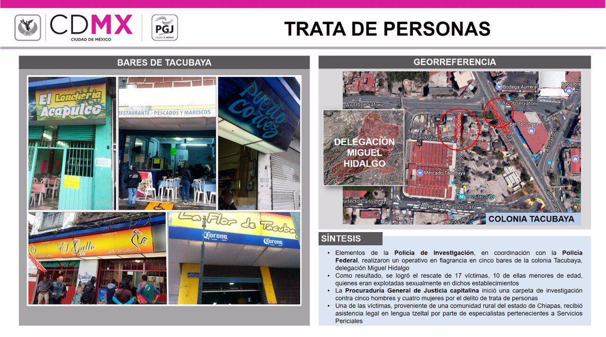 Rescatan a 17 menores que eran explotadas sexualmente en bares de Tacubaya