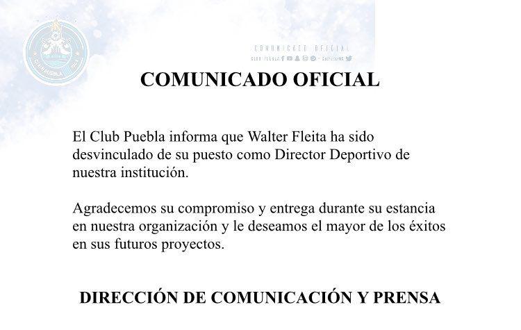 Club Puebla anunció salida de Walter Fleita como director deportivo