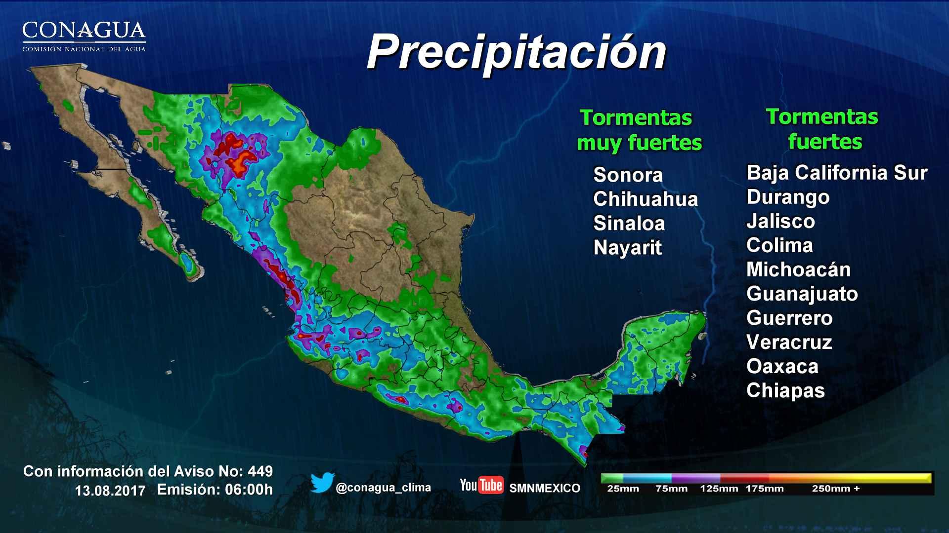 Tormentas continuarán afectando al menos a 16 estados: SMN