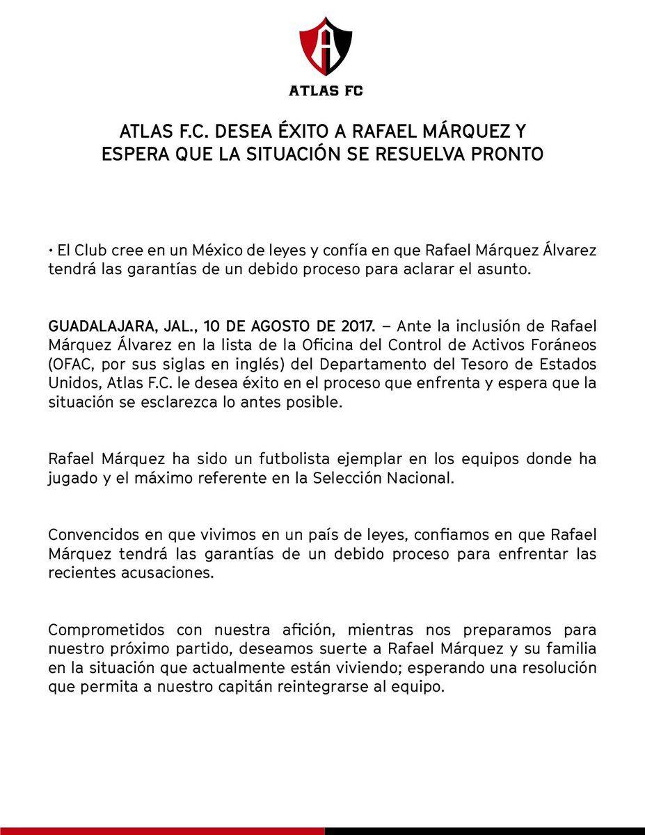 Rafael Márquez negó acusaciones que lo relacionan con el narcotráfico
