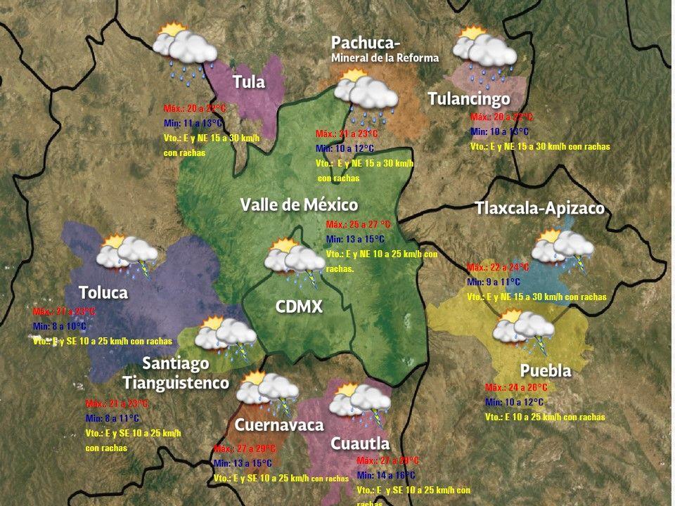 Prevén sábado medio nublado con lluvia vespertina en el Valle de México