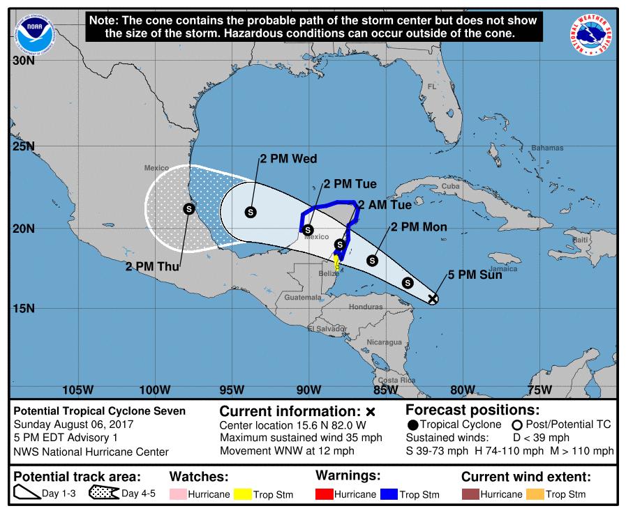 Inminente tormenta tropical genera advertencias en Península de Yucatán y Belice