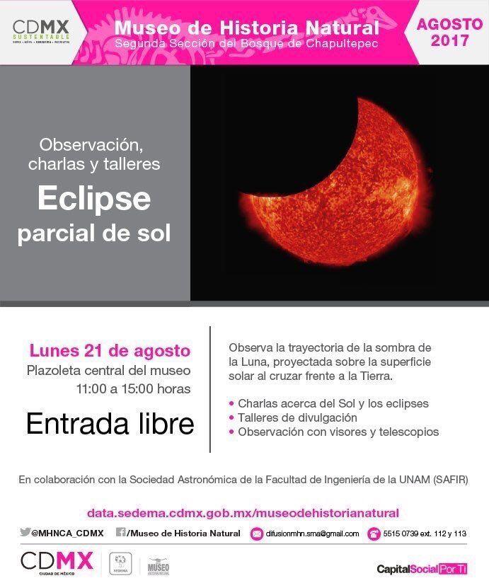 Capitalinos también podrán observar eclipse solar en el Museo de Historia Natural