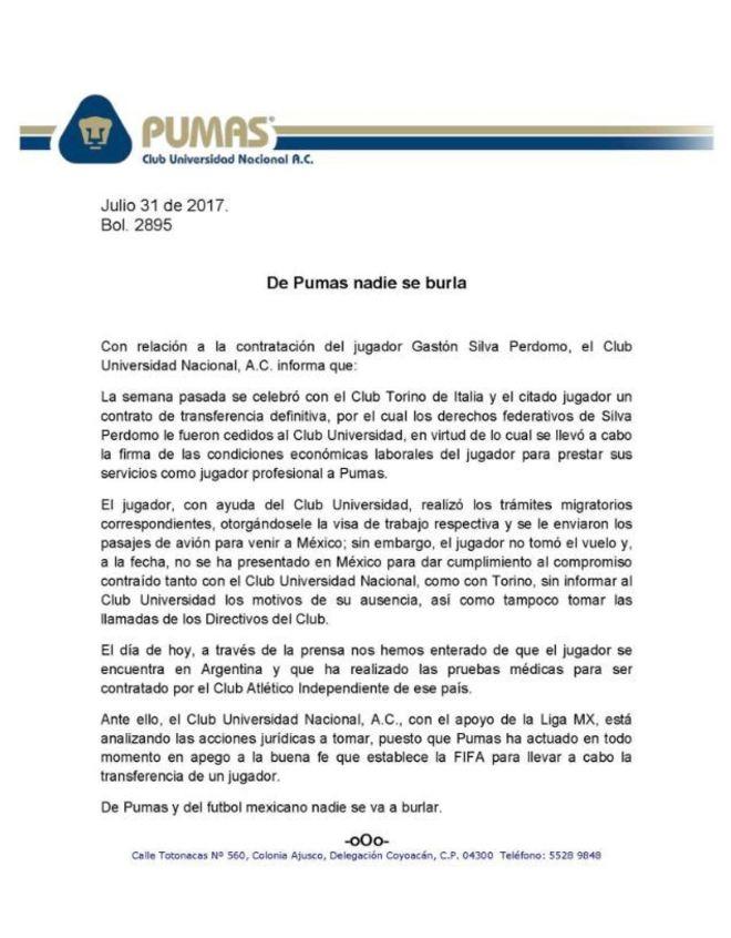 Pumas le pone ultimátum de 48 horas a Gastón Silva