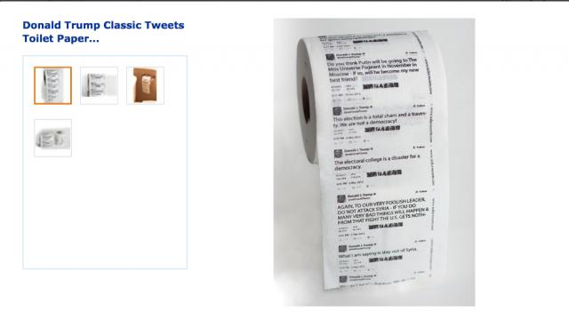 #TrumpEnLlamas Lanzan papel higiénico con tuits de Trump
