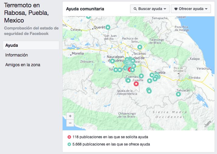 Facebook y Google activan sus herramientas de ayuda por el sismo