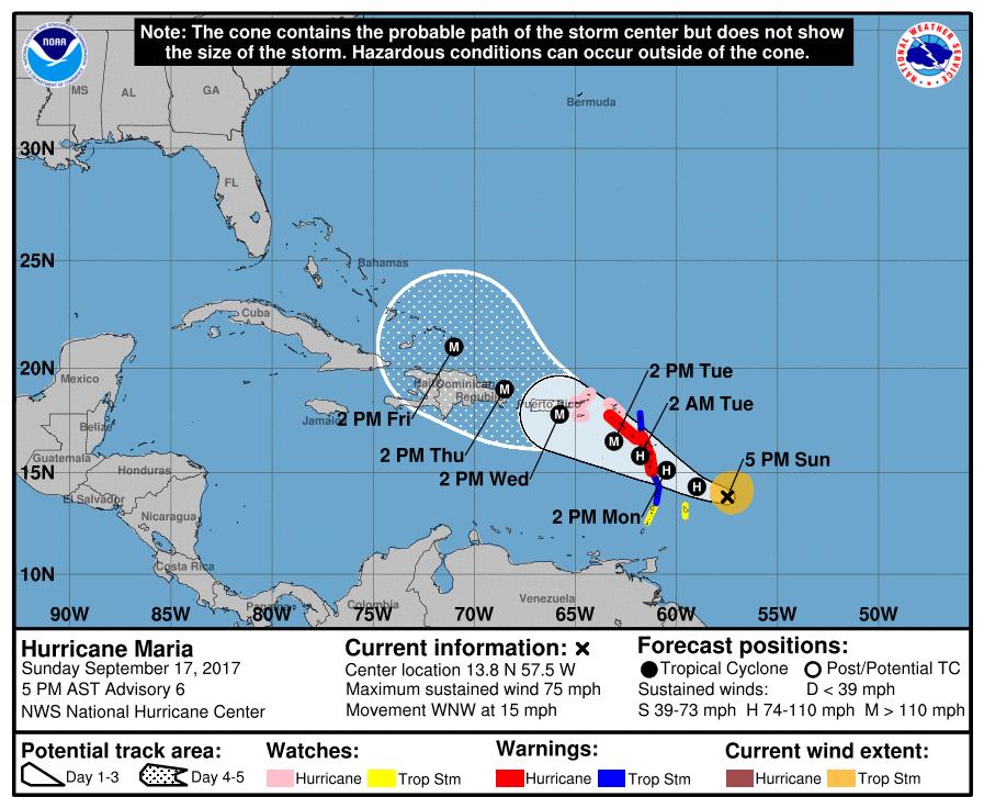 El Caribe en alerta ante el huracan Maria de categoria 2