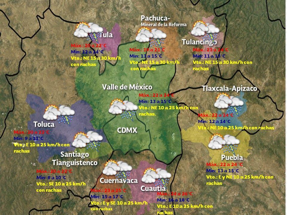Prevén un día nublado y con lluvia en el Valle de México