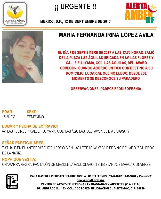 María Fernanda de 15 años tomó un taxi y desapareció