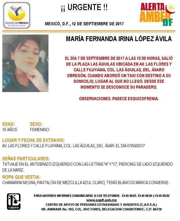 Continúa desaparecida adolescente que abordó taxi en Álvaro Obregón