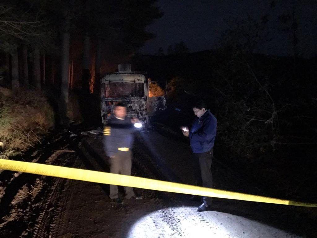 Carabineros investiga quema de camiones en La Araucanía