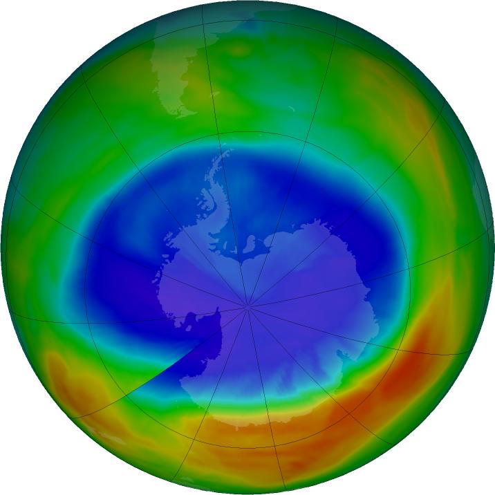 Agujero en capa de ozono en Antártida se redujo a mínimo histórico